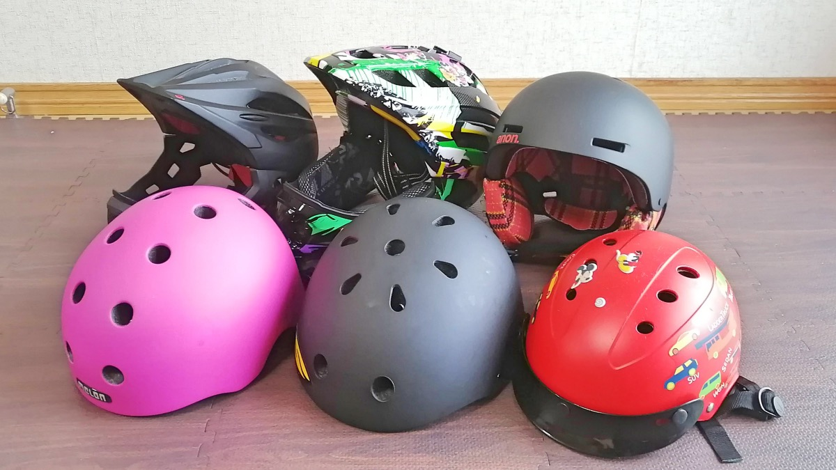 西松屋ヘルメット、メロンヘルメット、ブリヂストンヘルメット、アノンヘルメット、シグナヘルメット、中国産ヘルメット(すべて子供用)