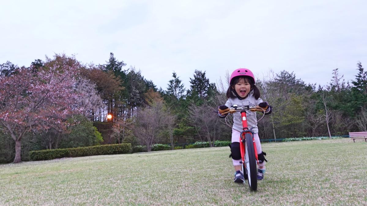 ケッターサイクルの足けりモードで芝生を走る女の子