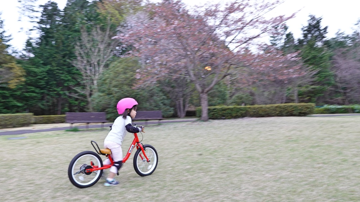 ケッターサイクル足けりモードで芝生を走る女の子