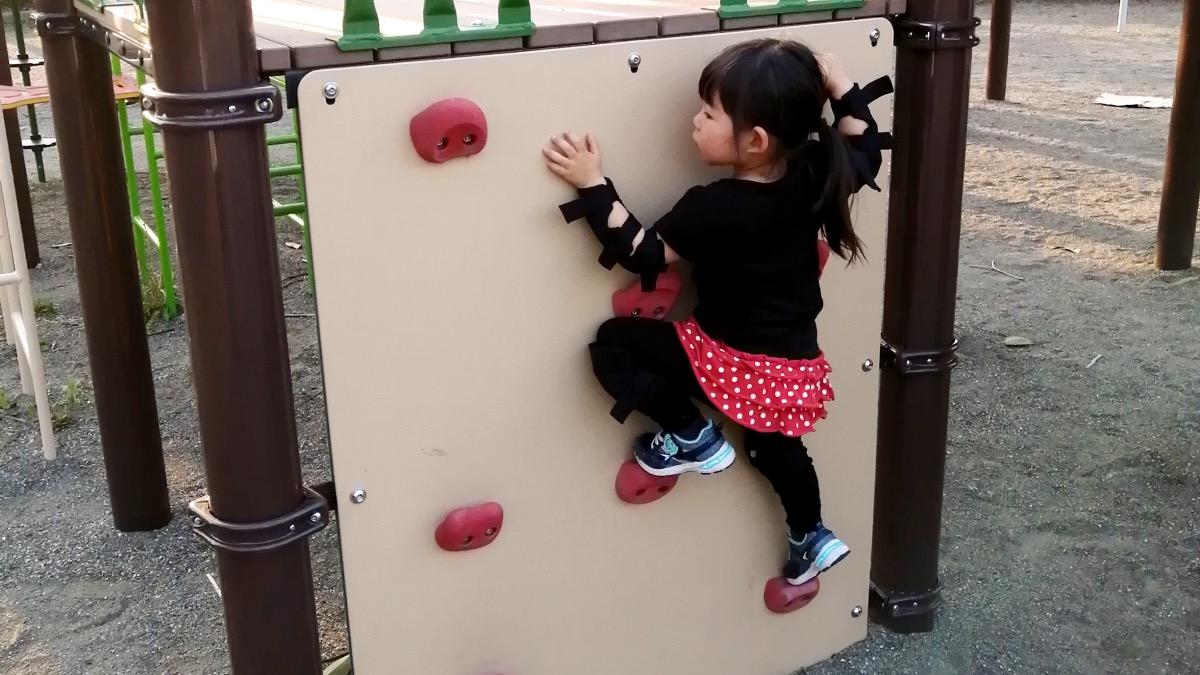 公園のクライミングウォールを登る3歳の女の子